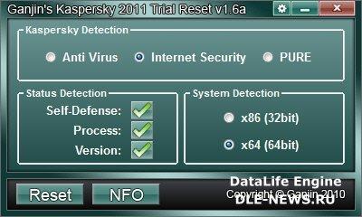 Ganjin's Kaspersky 2011 Trial Reset v1.6a